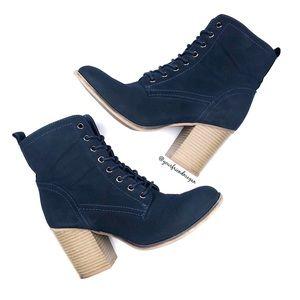 JustFab Jessamyn Navy Lace Up Ankle Boots